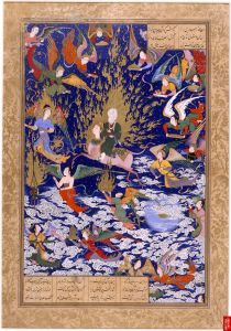 Mohammed ascending to heaven on a horse, Persian Miniature (British Library)